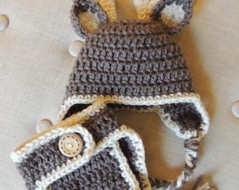 Crochet deer diaper cover set, LuvBeanies, Infant Baby Gift, Deer hat, Infant Diaper Cover Set, Deer Photo Prop, Baby Boy hats, Deer hats