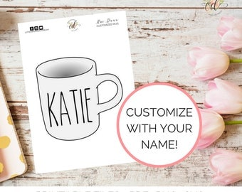 Rae Dunn Inspired Mug Die Cut | Custom Name Die Cut | Coffee Mug Die Cut | Personalized Die Cut | Planner Die Cut | Digital File Only