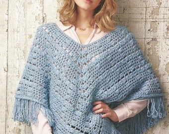 Instant Download - PDF-Lovely Chunky Poncho Crochet Pattern (AD68)