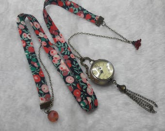 Liberty watch FOB red & green globe necklace