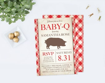 Baby Q Invitation PDF Template, Baby BBQ Invitation, Printable Couples Baby Shower, Digital pdf File, Baby Barbeque Editable Rustic Baby bbq