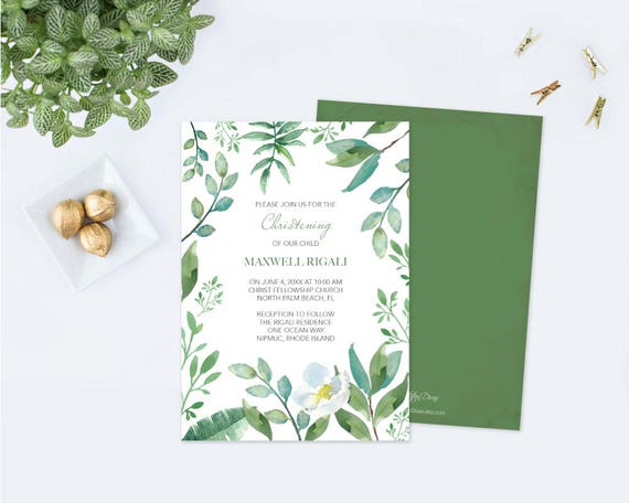 Editable Text GREENERY CHRISTENING INVITATION, Greenery First ...