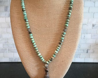 Green Peruvian Opal knotted necklace with silky tassel