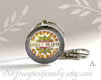 Sargent Peppers Key Chain, Lonely Hearts Club Band, Glass Photo Pendant,  Beatles Jewelry, Sargent Peppers, Gift for Beatles Fan