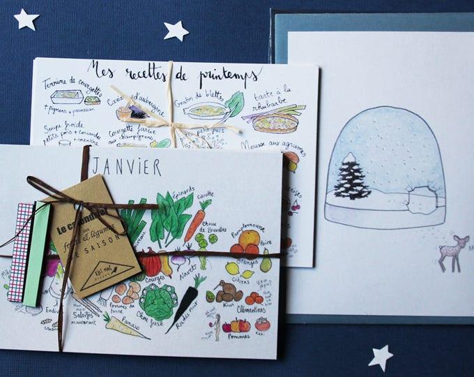 "Kit ""eating season"" Christmas: season schedule + 4 ideas recipes cards + 4 magnets Christmas card"