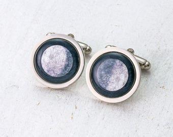 Moon Cufflinks, Moon Phase, Moon and Back, Grooms Cufflinks, Birth Moon, Space Cufflinks, Personalised Cufflinks, Wedding Gift