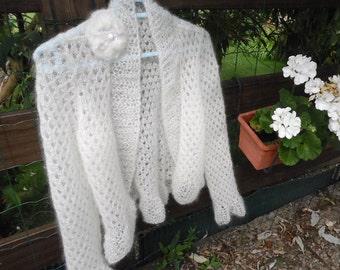 BOLERO feather mohair and silk, long sleeves, ruffle, size choice