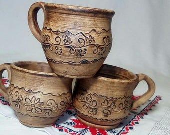 Mug for coffee,tea mug,clayware, small mug,mug with a pattern eco-cookware