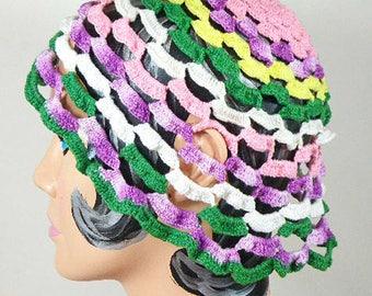 Vintage 1970s Handmade Crocheted Cap -  Vintage Hand Crochet Knit Hat Cap Beanie – Festival Hat - Boho Hat