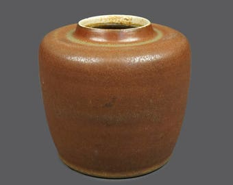 Mid Century Mobach Dutch Pottery Ceramic Art Vase Round Brown Orange Beige Glaze MCM Modern Art Designer Stoneware