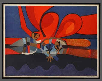 """Josep Maria Garcia Llort """"Pajara Rojo"""" Lithograph Abstract Art Signed Limited Edition 122/260 Vintage Art"""