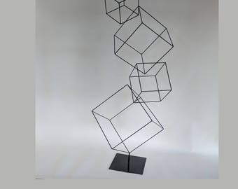 """Abstract Cubist Metal Art Sculpture of Floating Boxes -  75"""" Tall - Titled """"Little Boxes"""""""
