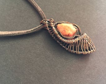 Copper Wrapped Pendant Necklace