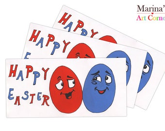 Happy Easter Greeting Cards, Easter Greeting Cards, Easter Egg Cards, Gift Cards, Cards for Easter, Hand Painted Card, Custom Easter Cards