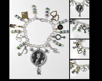 Jon Bon Jovi Inspired Charm Bracelet w/ 9 Charms & Multi Color Bead Work and Bead Caps