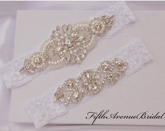 ON SALE Garter Wedding, Bridal Garter Set, Crystal Rhinestone Garter Set on White Lace, Garter Set with  Rhinestones, Style-575
