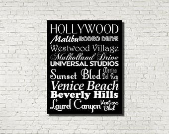 Los Angeles LA Neighborhoods Subway Sign - Typography Print - Modern Home Decor - Art Poster Wall Art Aged Vintage Finish