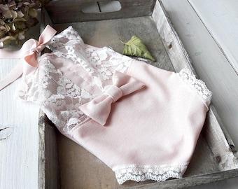 Newborn photo prop, photo session props, Newborn pink romper, Baby lace props, Newborn romper Jersey, Dainty Romper, Photo romper, Neutral