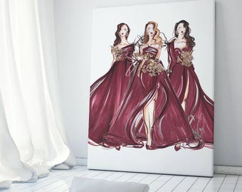 Burgundy poster, Fashion poster, Burgundy wall art, Fashion illustration, Art poster, Marsala poster, Marsala wall art, Fashion painting