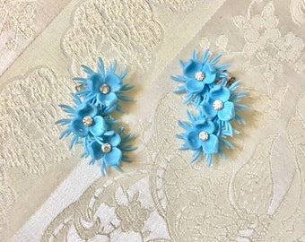 Vintage Very Large Blue Plastic Flower Power Clip On Earrings with Rhinestone Centers Bride Wedding Resale Wholesale Summer Retro Beach