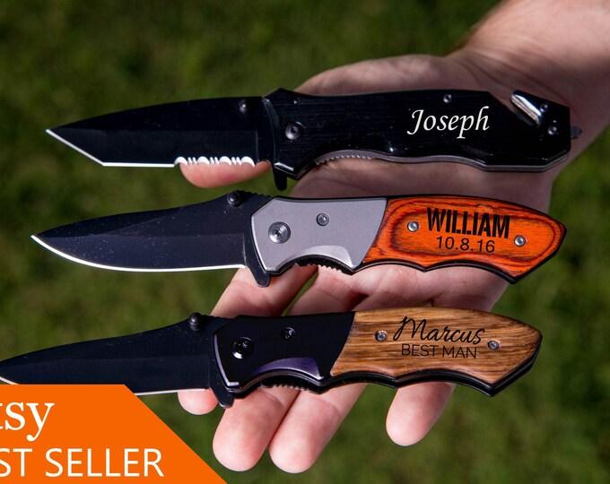 Groomsmen Gift, Pocket Knife, Hunting Knife, Gift for Men, Camping Knife, Groomsman Knife, Engraved Knives, Unique Best Stocking Stuffer K01