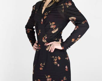 Vintage Black Floral Print Long Sleeve Midi Dress V-Neck Tight Fit Bodycon Sexy Semi Sheer Womens Size Small