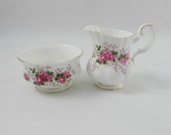 "Royal Albert ""Lavender Rose"" Cream and Sugar, Vintage Bone China"