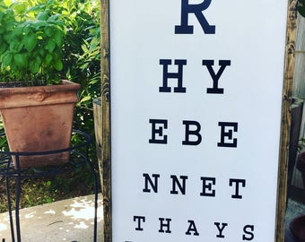 "Customized Eye Chart Wood Framed Sign - 30"" x 15"""