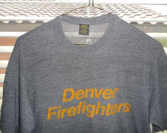 Vintage Original 1980s DENVER FIREFIGHTERS Russell Jerzees Heather Gray Soft Paper Thin Rayon Blend T Shirt L