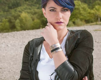 Leather Bracelet cuff  pink gold and black Boho jewelry By Dodie