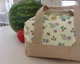 Insulated Lunch Bag - Honeybee Picnic, summer bags, food storage, cute bag, personalized, yellow bag, bee, lunch tote, picnic bag