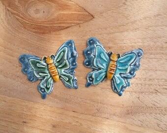 Set of 2 butterflies, mosaic materials, flower, ceramics, mosaics, Putoet, PutoetOrgnls