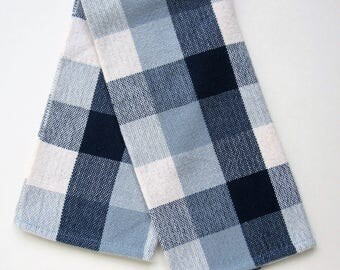 Handwoven Cream and Blues Plaid Kitchen Towel