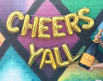 """CHEERS YALL 16"""" Gold Foil Letter Balloon Banner Kit"""