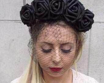Large Black Rose Flower Veil Headband Sugar Skull Goth Halloween Day Dead 3590