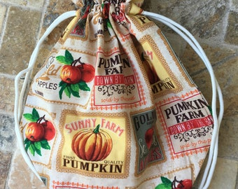 Knitting Project Bag-Fall Seed Packet Drawstring Project Bag,Knitting Bag,Crochet Project Bag, Crochet Bag,Toad Hollow Bags, Autumn bags