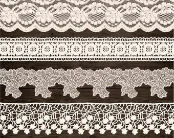 Ivory Lace Border Clip Art. Wedding Lace Clipart. Bridal Shower, Wedding Clipart. Shabby, Rustic Lace Overlays. Vintage Cream Seamless Lace.