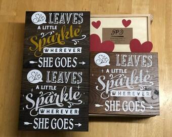 She Leave A Little Sparkle Wherever She Goes - Wood Sign - Glitter