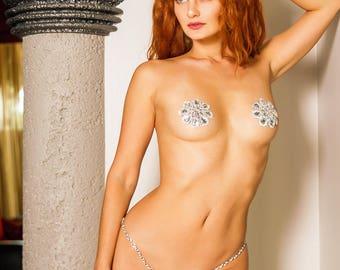 "RHINESTONE ""Diamasa"" PASTIES SET Chain Thong C String Panties Showgirl Crystal Jewel Bridal Bride Wedding Burlesque Erotic Lingerie Costume"