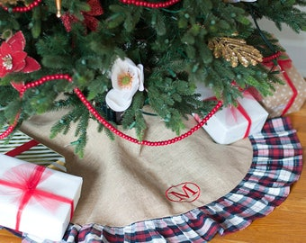 christmas tree skirt monogrammed tree skirt plaid tree skirt burlap christmas tree skirt - Christmas Tree Skirts