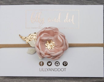 Blush Pink Rose Gold - Glitter - Sequin - Flower Headband - Baby Headband - Girls Hairband - Flower Crown - Spring Heaband - Nylon -Dainty *