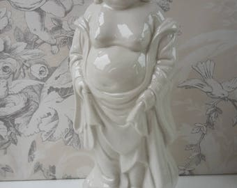 Blanc de Chine  Laughing Buddha figurine statue Buddism - marked - height 26 cm / 10.25""