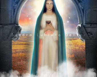 "Virgin Mary Tre Fontane print, Our Lady of Revelation,Catholic art, 8x10"" or 11x14"" religious print, wall decor."