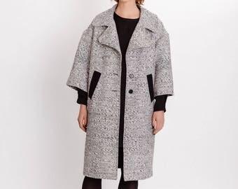 Black and white woman coat / Pure silk elegant knee coat / Pocket front fashion silk coat / Beautiful winter long coat / Fasada 17165-2