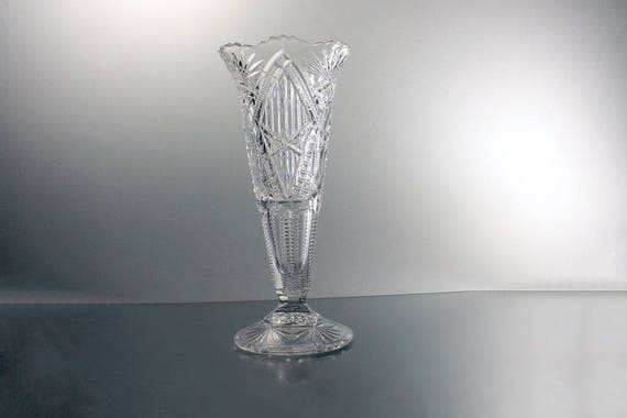 EAPG Crystal Trumpet Vase, McKee Bros., Squat Pineapple, Lone Star, Antique, Heavy Glass