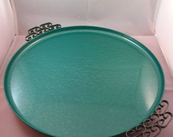 Green Moire Glaze Kyes Round Serving Tray
