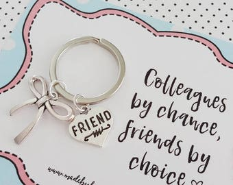 Work friend bestie charm keyring gift - BFF colleague, friendship