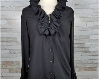 Matte black blouse with ruffled stand-up neck - Large