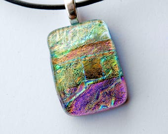 Small Glass Pendant, Pink Orange and Green Dichroic Glass Necklace, OOAK Pendant Necklace, Shimmering Glass Necklace, Stripes, Iridescent