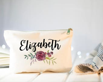 Personalized Makeup Bag, Bridesmaid Gift , Thank you Bridesmaid, Maid of Honor Gift, Unique Gift for Bridesmaid Proposal, Fall Wedding Gift